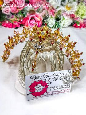 Gold, Pink & Burgundy Dance Tiara by Jacqui Hoole