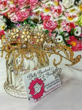 Gold couture dance tiara by Jacqui Hoole, Betty Bunhead Tiaras